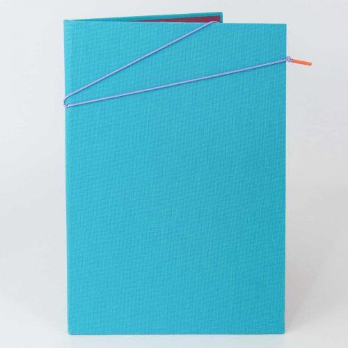 Blaue Klemmmappe mit Verschlussband